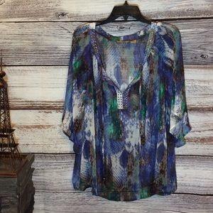 Valerie Stevens Sheer Multi-Color Top